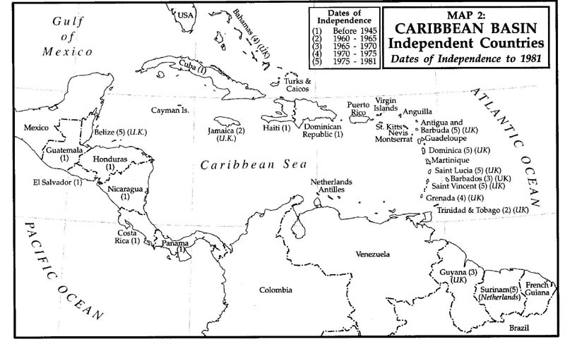 Légend image inside printable map of the caribbean